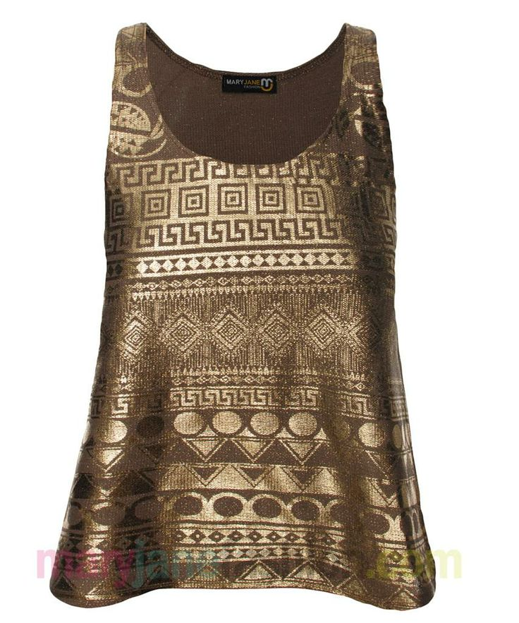 foil aztec print bronze tank-top