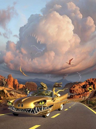 Two Velociraptors in  a Prehistoric Landscape at FramedArt.com