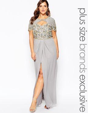 vestido largo con top adornado en forma de corazón y abertura en el muslo Helena de Virgos Lounge Plus