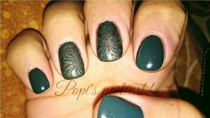 Building # acrylic # dark green polish # stamping with gold brown