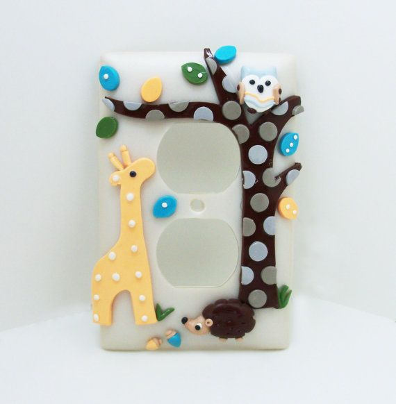 Orange Giraffe, Turquoise Owl and Brown Hedgehog light switch cover by Etsy seller Thimbletowne.