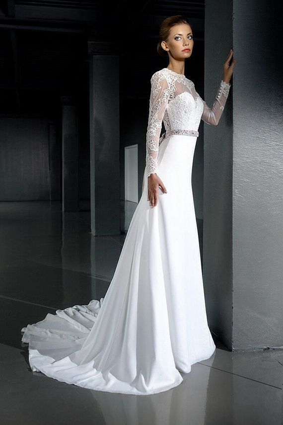 Very Elegant Lace Slimming Silhouette With Train Gorgeous Open Back And Sheer Neck Line Beautiful Details