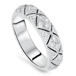 Patterned Diamond Wedding Band