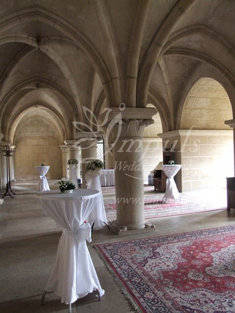 Castle wedding at Bojnice castle, Slovakia, Europe - Column Hall for your welcome drink or short reception.