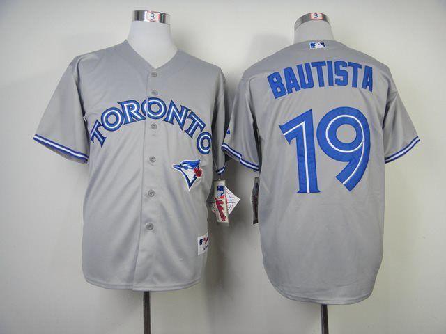 reputable site 176ec f3420 MLB Toronto Blue Jays 19 Bautista grey Baseball Jersey,cheap ...