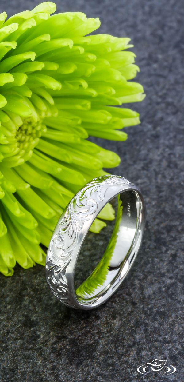 Antique Scroll Engraving on Matte Platinum Band, Green Lake Jewelry