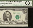 UNC 1976 $2 DOLLAR BILL MISALIGNMENT ERROR NOTE PA…