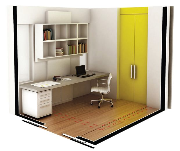 Adotar um sistema aparente de trilhos e roldanas de aço inox (no lugar do kit embutido para portas de correr) custaria R$ 550 para cada uma das portas e elevaria os gastos em 5%.: Home Office Pequeno, At Home, Office Designs, H Home Office, Home Offices