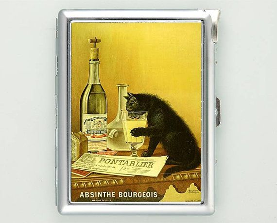 Absinthe Bourgeois Black Cat Cigarette Case with Lighter Wallet Business Card Holder ***********************************  We sell only case &