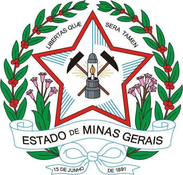"""Brazilian Coat of Arms - State of Minas Gerais - O brasão do estado de Minas Gerais foi instituído inicialmente pela lei estadual nº 1 de 14 de setembro de 1891, e constituía-se de um círculo dentro do qual viam-se duas figuras humanas simbolizando a agricultura e a mineração, circundadas das palavras """"Estado De Minas Gerais - 15 de junho de 1891"""" (data da promulgação da constituição estadual)."""