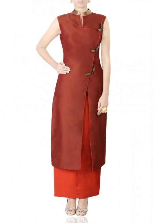 Brown overlap kurti with embroidery