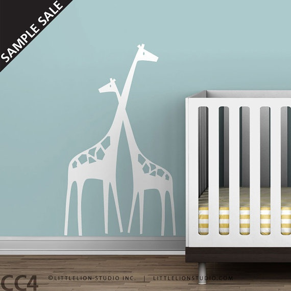 Wall Decal Sample Sale Baby Zoo Mom and Baby by LeoLittleLion, $35.00