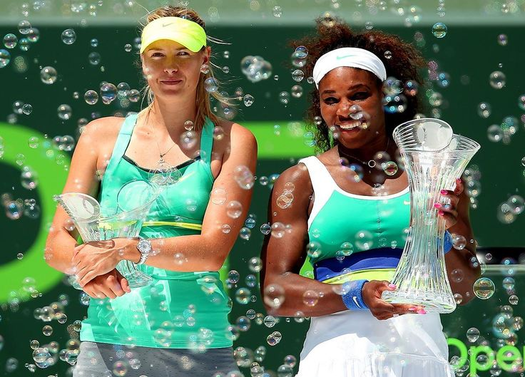Sharapova and Serena Williams after the final of the Sony Open. Williams won 4-6, 6-3, 6-0.