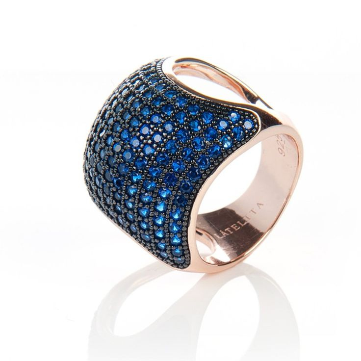 22ct Rose Gold Vermeil Micro Pave Statement Cocktail  Cushion Ring - Blue Zircon