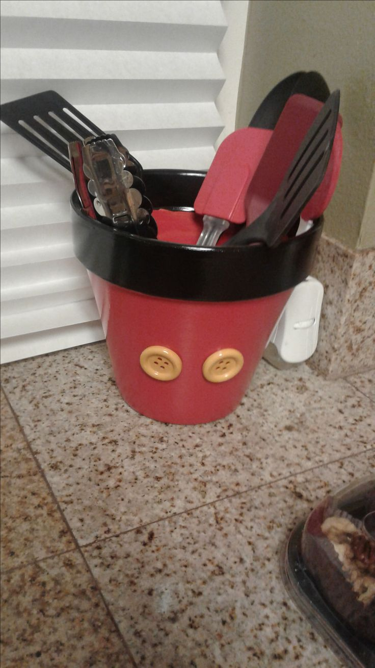 Disney Mickey Mouse utensil holder.  I needed a Bigger utensil holder and I made this! Love It! Trying to theme my Kitchen Disney