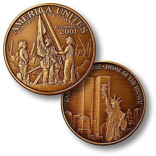 America Unites - Twin Towers Bronze Antique Coin
