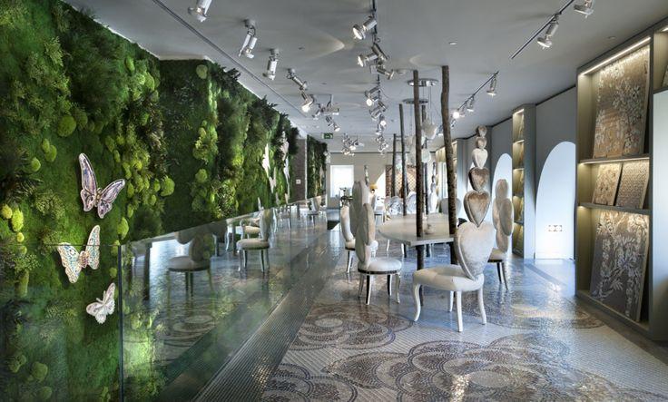 #LinfaDecor: Allestimento parete vegetale presso lo Showroom #Sicis di #Milano. #greenwalls #green #design