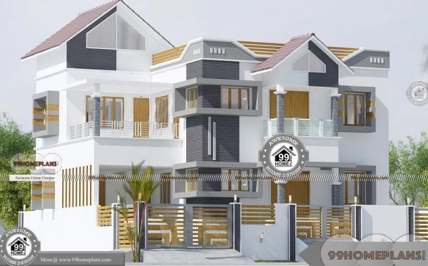 Modern House Designs Indian Style Double Floor Fusion Pattern