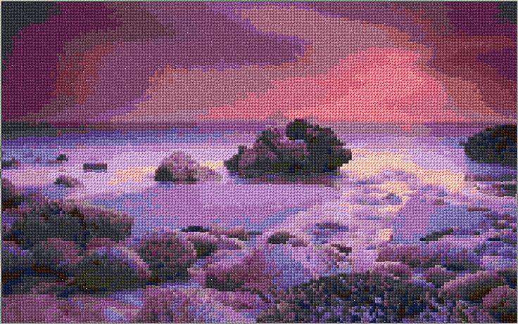 Purple sea sunset free cross stitch pattern