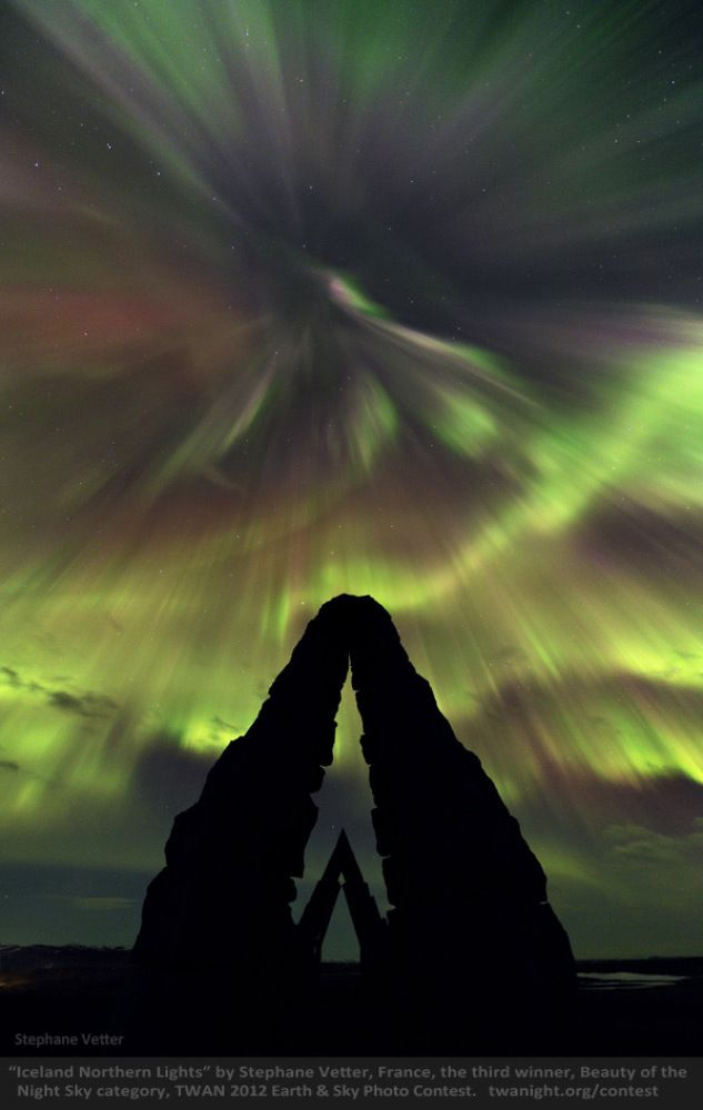"""Northern Lights over Iceland, 3rd place winner """"Beauty of the Night Sky"""" category.  Earth and Sky Photo Contest Pictures Show Beauty Of Night Landscape And Sky (PHOTOS)"""