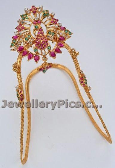 Simple ruby emerald cz Vanki designs - Latest Jewellery Designs