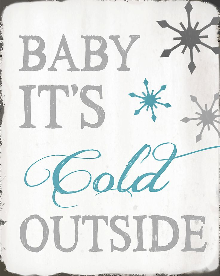Christmas Print - Baby It's Cold Outside - 8x10 - Gray, Aqua, Blue, White - Snowflakes. $12.00, via Etsy.