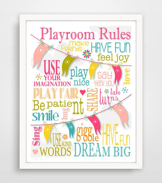 Playroom Rules  Modern Playroom Rules  Modern Nursery by Finny and Zook
