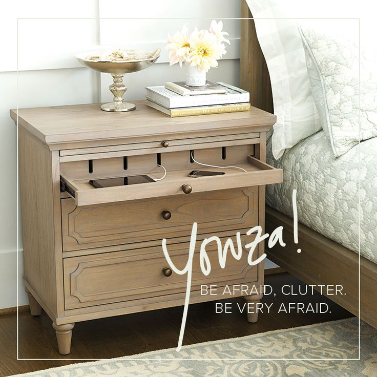 Clutter, be gone! Our Isabella Charging Nightstand has a spot for all of your devices with nary a cord in sight.