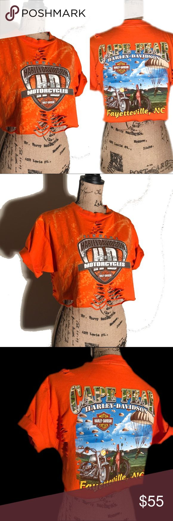 """✂️ Cut up distressed Harley Davidson crop top this is a custom cut Harley Davidson tshirt turned crop top. Bright Orange, it is made of rather thick cotton. Has been faded & distressed and """"worn in."""" Cute, comfy and one of a kind. Will fit a woman's size/medium.   #harley #harleydavidson #motorcycle #biker #rally #croptop #upcycled #distressed #rippedup #faded l #ripped #worn #orange #bright #urban #sturgis #laconia #reworked #restyled #reconstructed #upcycled #danamariedior #revampdlife…"""