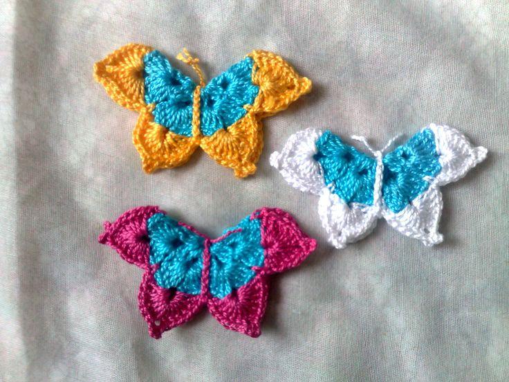 Häkelschmetterlinge-3 große Aufnäher-Schmetterling Applikation dreidimensional-gelber Schmetterling-weißer Schmetterling-Schmetterling pink von HaekelshopSetervika auf Etsy