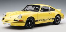 AUTOart 1/18 Scale Porsche 911 Carrera RS 2.7 1973 Light Yellow With Black Stripes Diecast Car Model 78053 www.DiecastAutoWorld.com 2312 W. Magnolia Blvd., Burbank, CA 91506 818-355-5744 AUTOart Bburago Movie Cars First Gear GMP ACME Greenlight Collectibles Highway 61 Die-Cast Jada Toys Kyosho M2 Machines Maisto Mattel Hot Wheels Minichamps Motor City Classics Motor Max Motorcycles New Ray Norev Norscot Planes Helicopters Police and Fire Semi Trucks Shelby Collectibles Sun Star Welly