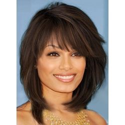 Sweet Layered Bob Hairstyle Mid-lenght Straight Capless Synthetic Wigs 14 Inches: M.Wigsbuy.com