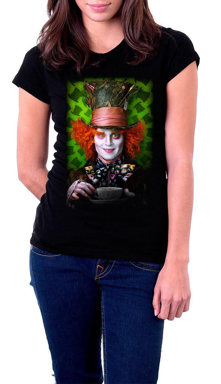 Camiseta chica Alicia en el País de las Maravillas. El Sombrerero loco  Estupenda camiseta para chica con el diseño del rostro del Sombrerero loco interpretado por el actor Johnny Depp, un personaje visto en el film de Alicia en el País de las Maravillas.