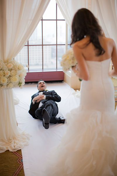 This groom's reaction upon seeing his bride for the first time is priceless.Related: 75 Reasons to Have a First Look