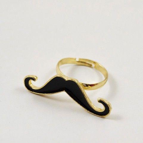 Bague moustache noir #bague #bijoux #accessoire #mode