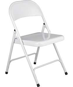 Habitat Macadam White Metal Folding Chair.