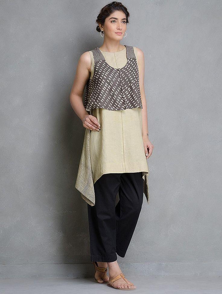 Buy Beige-Black Dabu Printed Linen Tunic Online at Jaypore.com