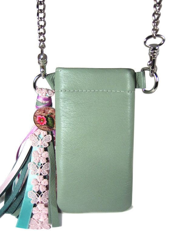 Limited Edition  Iphone case/ smartphone pocket/ cell phone pocket to measure on strings made ​​of genuine leather with colorful lime green tassel with satin ribbons and ...