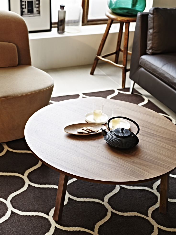 Stockholm coffee table walnut veneer 93 cm strength for Table up and down ikea