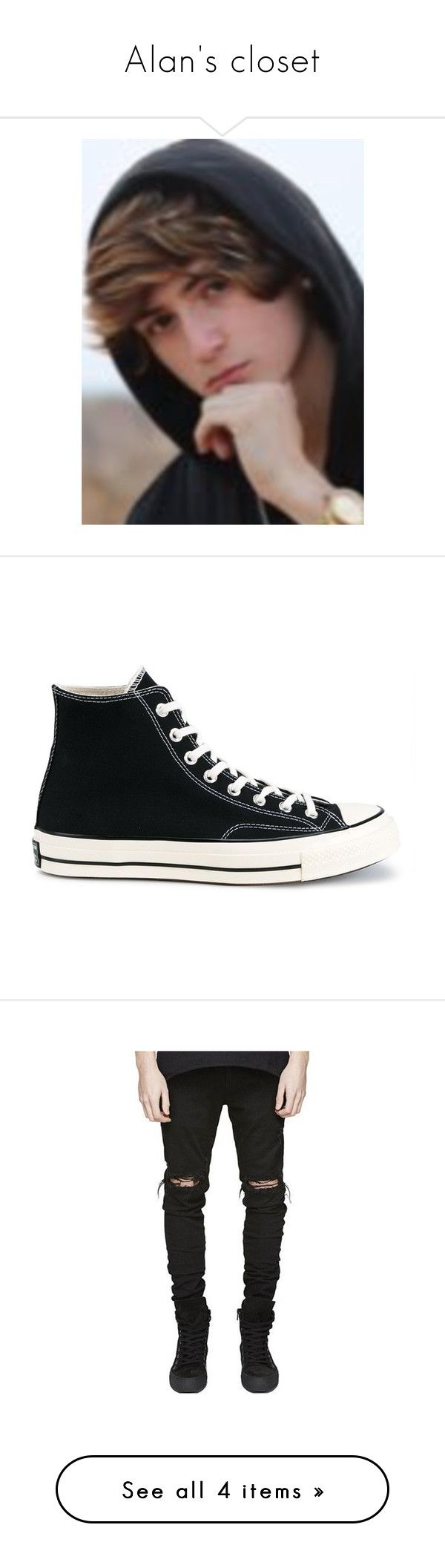 """""""Alan's closet"""" by llamasandcake ❤ liked on Polyvore featuring men's fashion, men's shoes, men's sneakers, shoes, black, mens black high top shoes, converse mens shoes, mens high top sneakers, mens black high top sneakers and mens black shoes"""