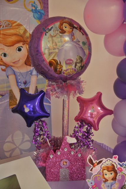 Pretty centerpiece at a Sofia the First Birthday Party!  See more party ideas at CatchMyParty.com!