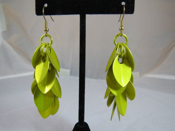 Shaggy Scale earrings in yellow by TheveninJewelry on Etsy, $17.50