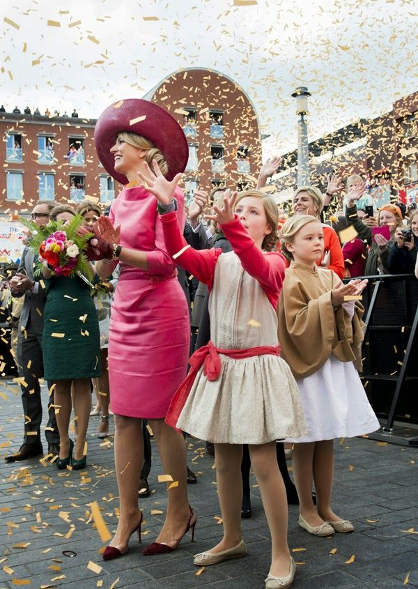 King Willem-Alexander, Queen Maxima and their daughters Princess Amalia, Princess Alexia and Princess Ariane attends the celebrations of the King's Day (Koningsdag) in Dordrecht, The Netherlands on April 27, 2015.