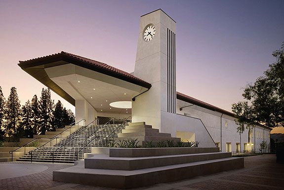 Pierce College Library Learning Crossroads Building: striking a balance between its mandated Mission style and expressive modern forms; creates a new campus center on its triangular site