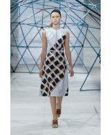 Geometric Print Zip Front Midi Dress