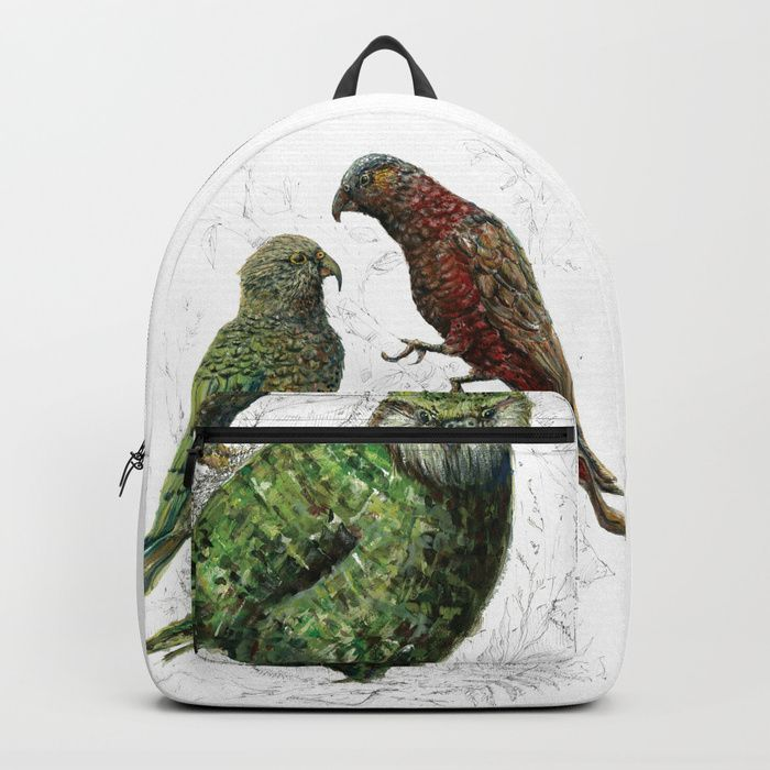 Buy Three native parrots of New Zealand Backpack by emiliegeant. Worldwide shipping available at Society6.com. Just one of millions of high quality products available.