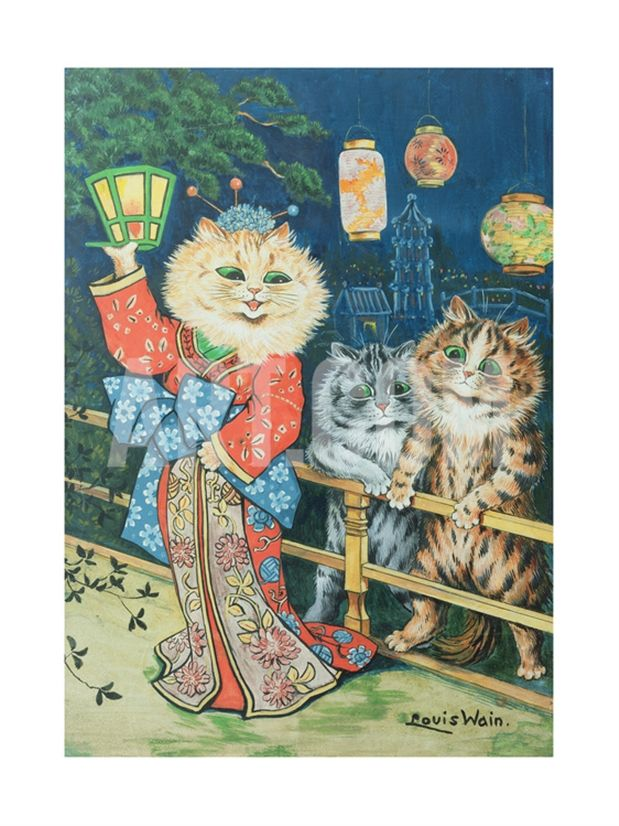Cats in Japan Giclee Print by Louis Wain at Art.com