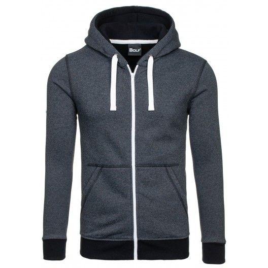 Športové mikiny tmavo sivej farby s kapucňou - fashionday.eu