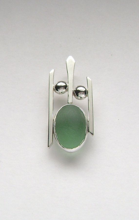 Sea Glass Jewelry  Sterling Green Sea Glass by SignetureLine, $75.00