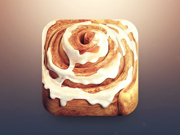 Cinnamon Roll App Icon by CreativeDash. 18 Mouthwatering Food #App #Icons